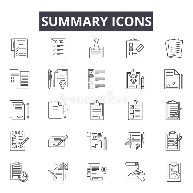 Summary line icons for web and mobile design. Editable stroke signs. Summary  outline concept illustrations vector illustration