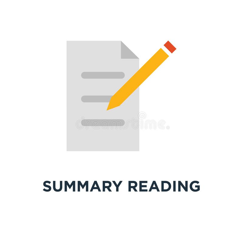 summary reading icon. brief report, contract terms and conditions, education test, exam preparation concept symbol design, vector illustration