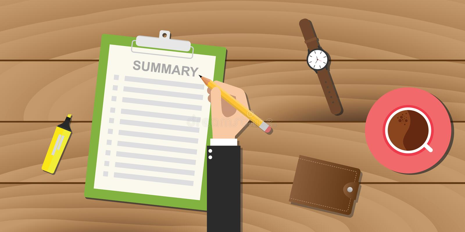 Summary report business clipboard executive hand vector illustration