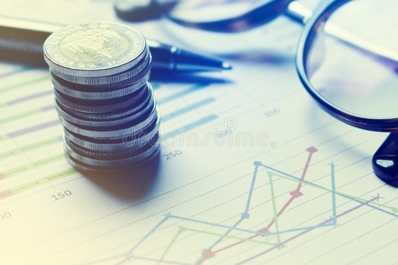 Summary report and financial analyzing concept, Pen and notebook stock photo
