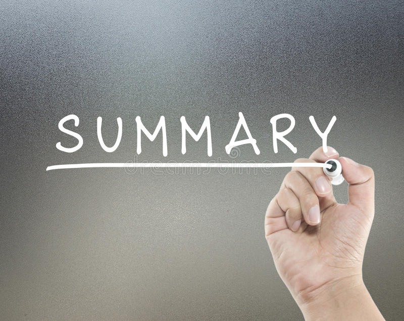 Summary text. With hand writing stock images