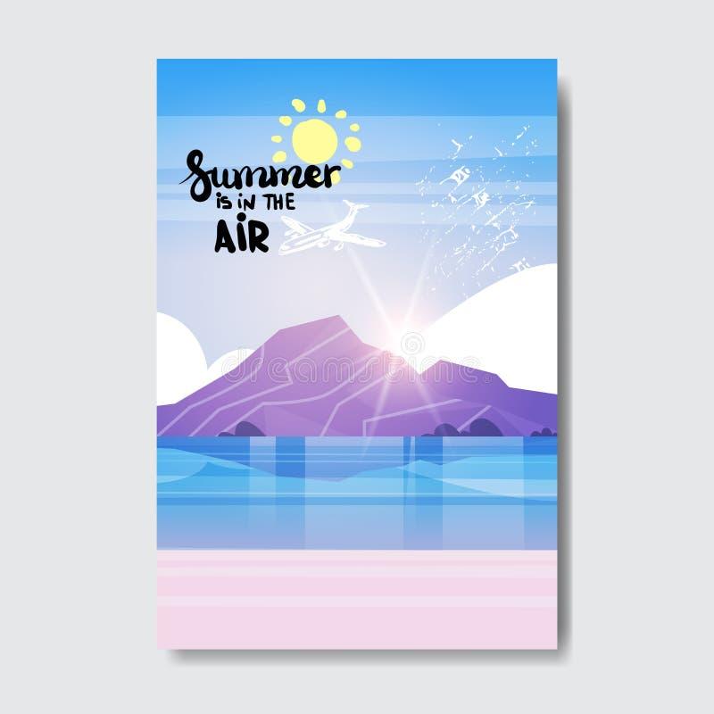 Summe海滩山日出徽章设计标签 晒干假日在上写字为商标的,模板,邀请,贺卡 向量例证