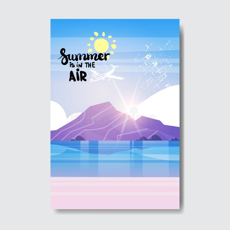 Summe beach mountain sunrise badge Design Label. Season Holidays lettering for logo,Templates, invitation, greeting card. Prints and posters. vector vector illustration
