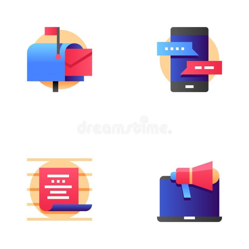 Summen-Marketing und Mehrkanalmarketing-Vektor-Linie Ikonen eingestellt Postsendung, Korrespondenz, Kommunikation Editable Anschl lizenzfreie abbildung
