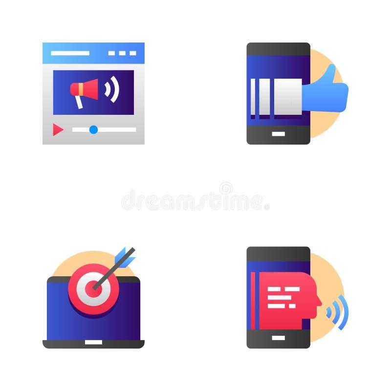 Summen-Marketing und Mehrkanalmarketing-Vektor-Linie Ikonen eingestellt Virenvideo, kontextabhängige Werbung Editable Anschlag lizenzfreie abbildung