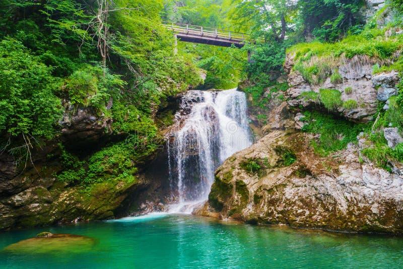 Summenwasserfall Radovna-Fluss Vintgar-Schlucht Slowenien lizenzfreie stockfotografie