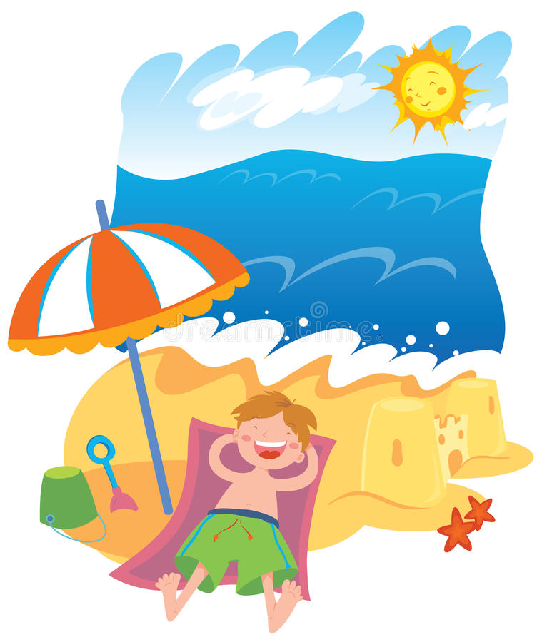 Summer. Vector illustration of a kid lying on the beach royalty free illustration