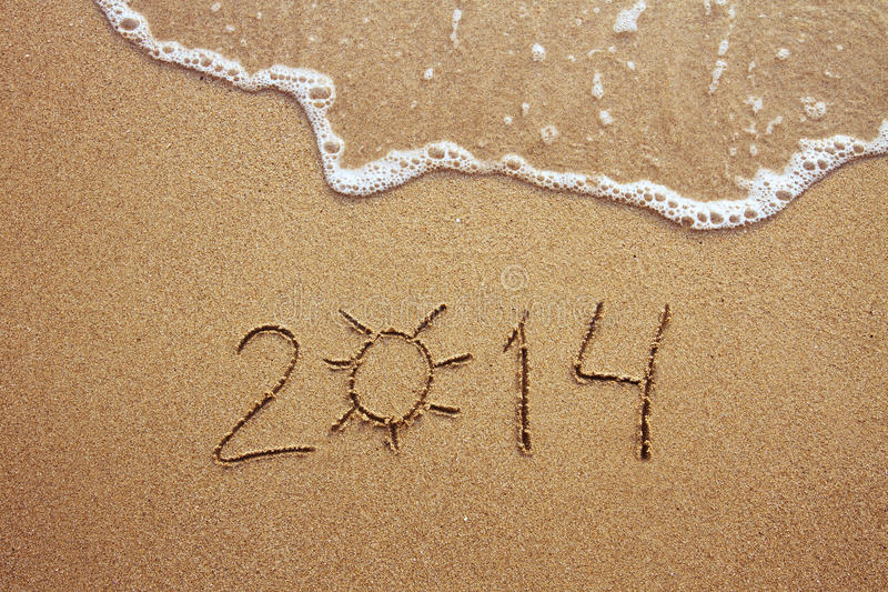 Summer 2014. Digits on the beach stock image