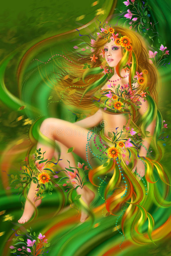 Download Fantasy  Summer, Beauty Woman In Flower Dress Stock Illustration - Image: 27016412