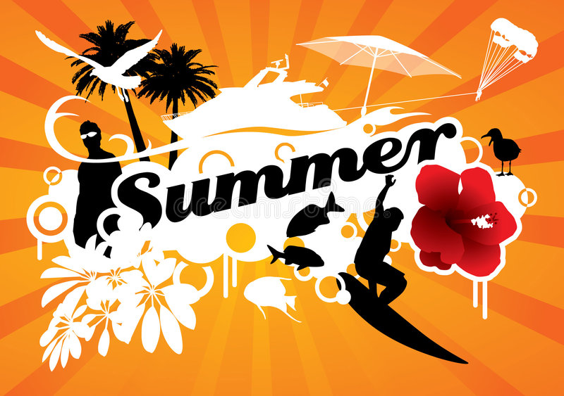 Summer. Graphic composition with several summer icons silhouettes surrounding the word summer