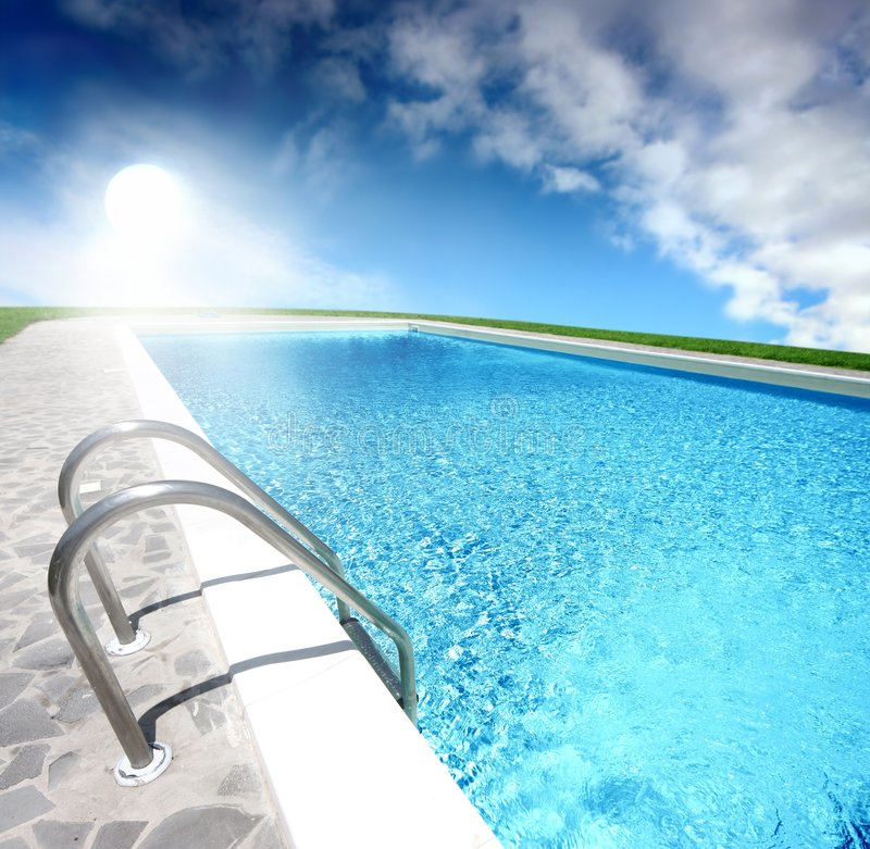 Summer. A swimming pool in summer day stock image