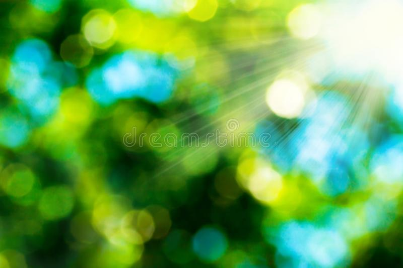 Summer abstract bokeh background in green yellow colors with sun rays. Blurred background of green leaves on nature royalty free stock photography