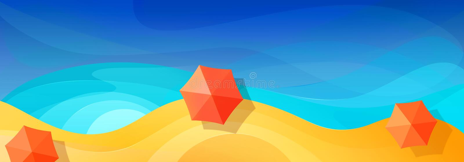 Summer abstract vacation background. Multicolored beach umbrellas paradise beach. Blue sea. Top view. Banner design. Summer abstract vacation background stock illustration