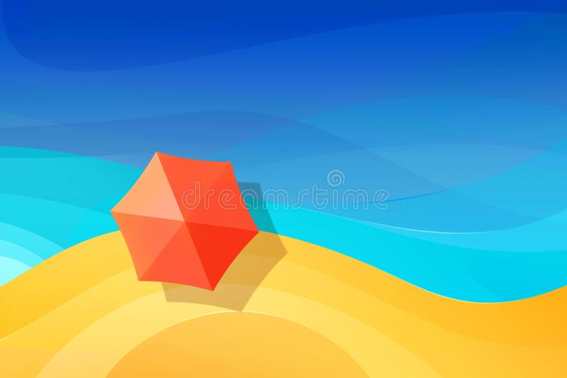 Summer abstract vacation background. Red  beach umbrellas on the paradise beach. Blue sea. Top view. Free space for text royalty free illustration