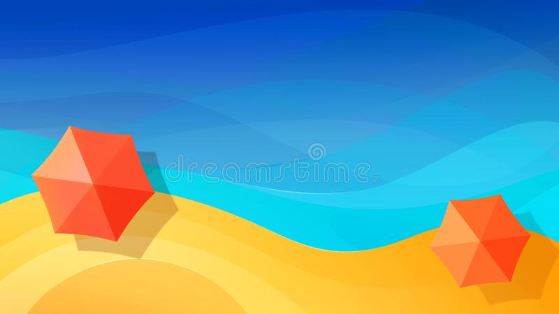 Summer abstract vacation background. Red  beach umbrellas on the paradise beach. Blue sea. Top view. Free space for text. Summer abstract vacation background vector illustration