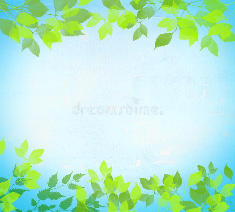 Green Leaves blue sky Summer sunny day abstract watercolor vector illustration