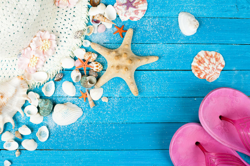 Download Summer Accessories And Shells Stock Image - Image of flops, closeup: 55441663