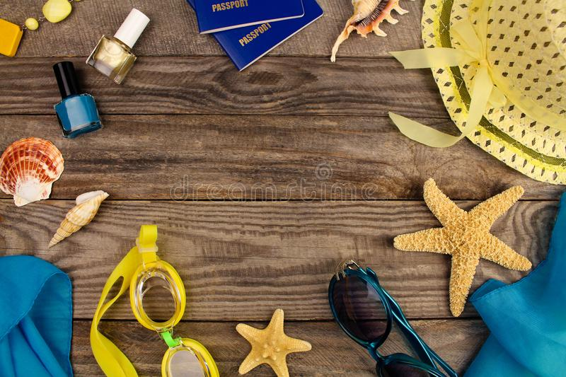 Summer accessories on wooden old background. stock image