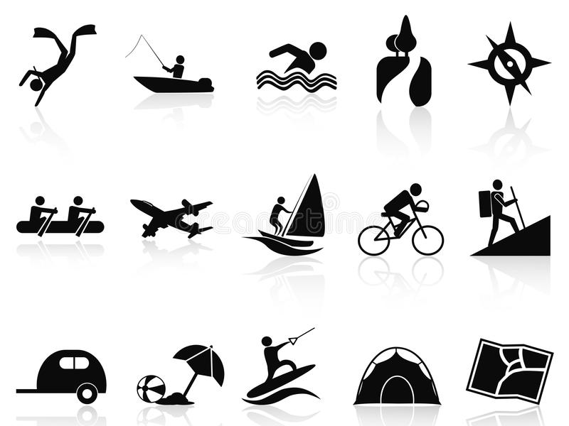 Summer activities icons set vector illustration
