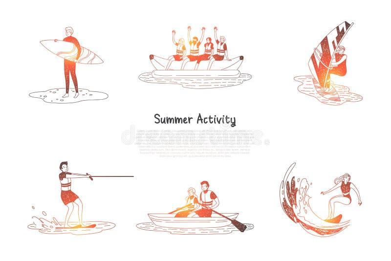 Summer activity - people doing water activities surfing, water skiing, sailing vector illustration