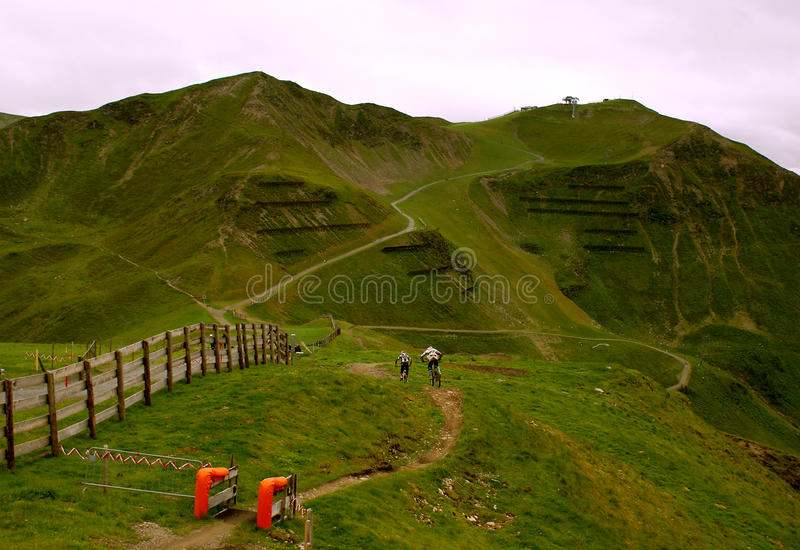 Summer adventure at X -line at Saalbach - Hinterglemm. Summer adventure at X -line , one of the longest free ride trails in Europe, in the Alps Mountains royalty free stock photo