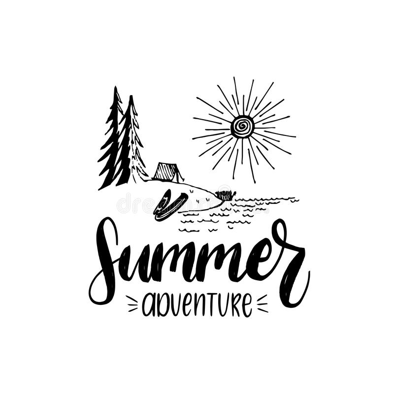 Summer adventure poster with lettering. Vector touristic label with hand drawn forest lake illustration. Camp emblem. royalty free illustration