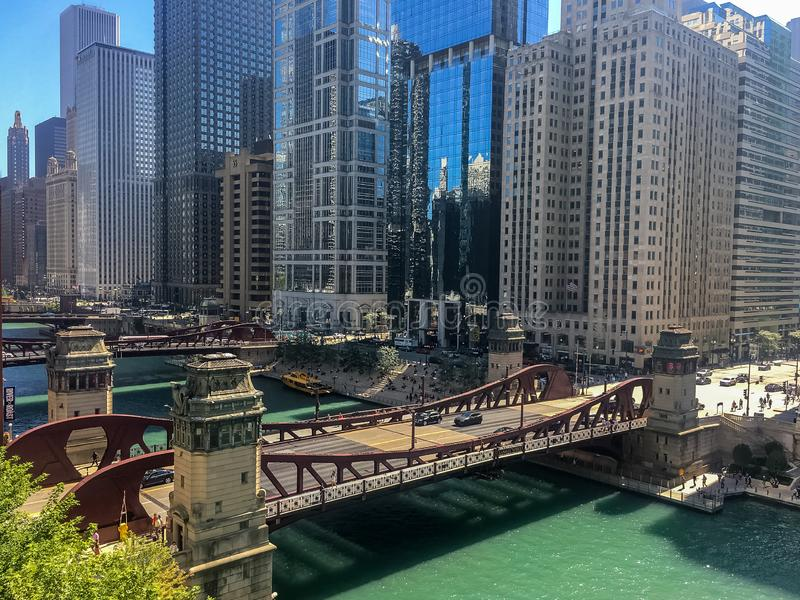 Summer afternoon in busy downtown Chicago, overlooking the Chicago River. Summer afternoon in busy downtown Chicago, overlooking the Chicago River as royalty free stock photo