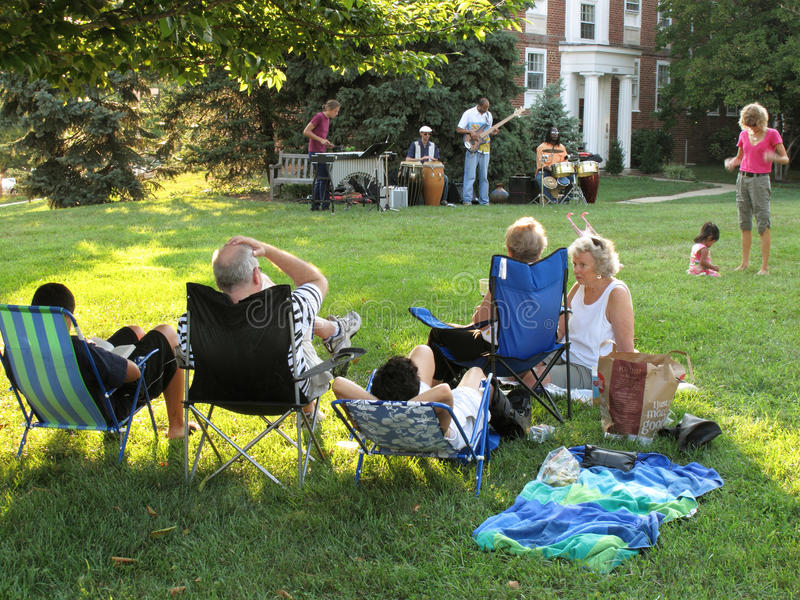Summer Afternoon Jazz. Photo of people listening to a jazz concert at mclean gardens in washington dc on 8/23/09. These type of concerts are very popular as stock photo