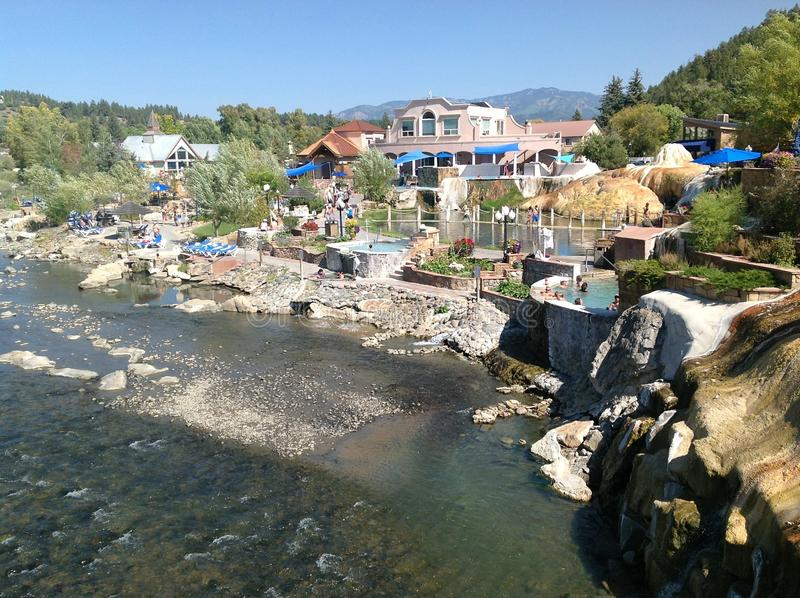 Summer afternoon in Pagosa Springs, Colorado. Known for their hot springs, Pagosa Springs is surrounded by nature as the nearby hills and mountains show in the royalty free stock photo