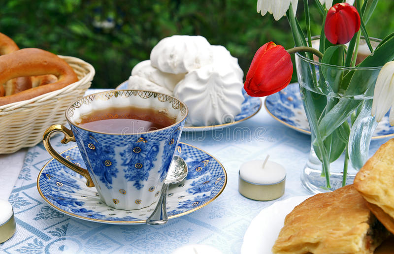 Download Summer afternoon tea-table stock image. Image of gold - 9536003