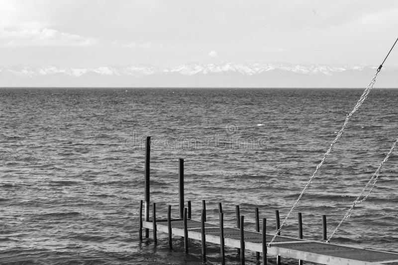 Summer air Baikal Russia black and white. Photo mountain water berth stock photography