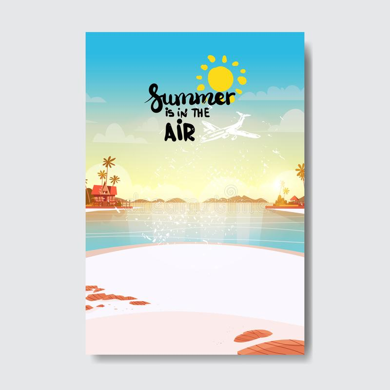 Summer airplane beach landscape badge Isolated Typographic Design Label. Season Holidays lettering for logo,Templates. Invitation, greeting card, prints and stock illustration