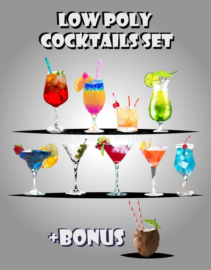 Summer alcohol cocktails drinks polygonal icons set with coconut. Glass isolated vector illustration. Low poly vector illustration