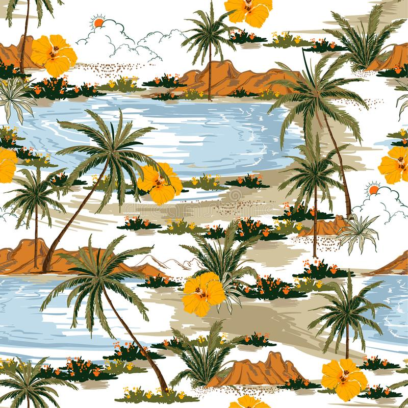 Summer Aloha seamless island pattern vector. Landscape with palm. Trees,beach and ocean vector hand drawn style on white color background stock illustration