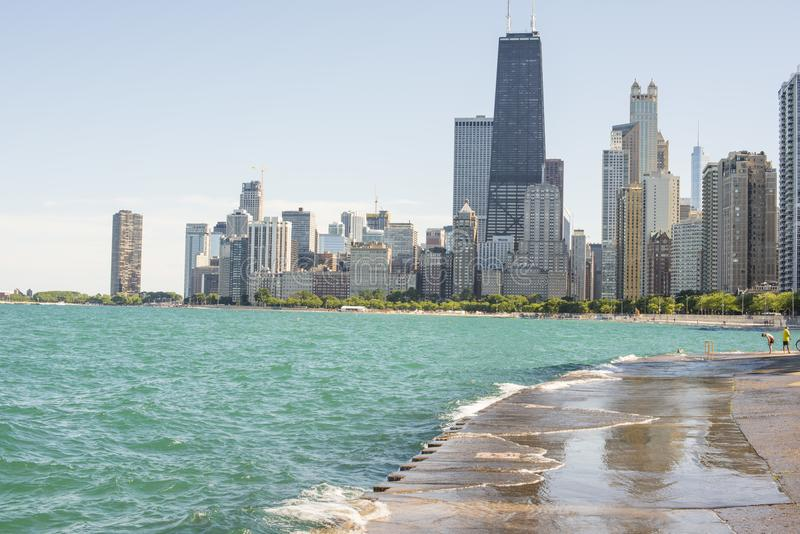 Summer along Chicago`s waterfront with city skyline royalty free stock photos