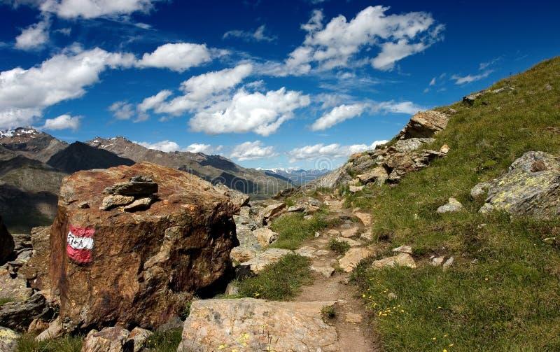 Summer alpine footpath