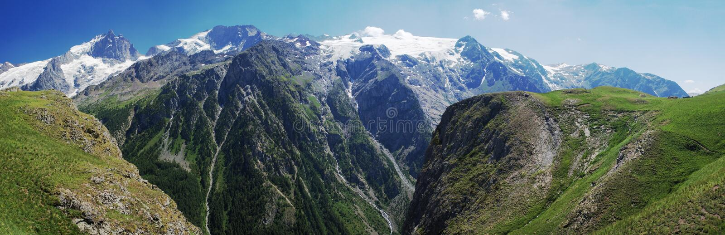 Summer alpine mountain panorama royalty free stock image