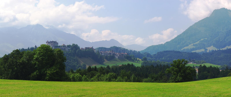 Summer alpine panorama stock image