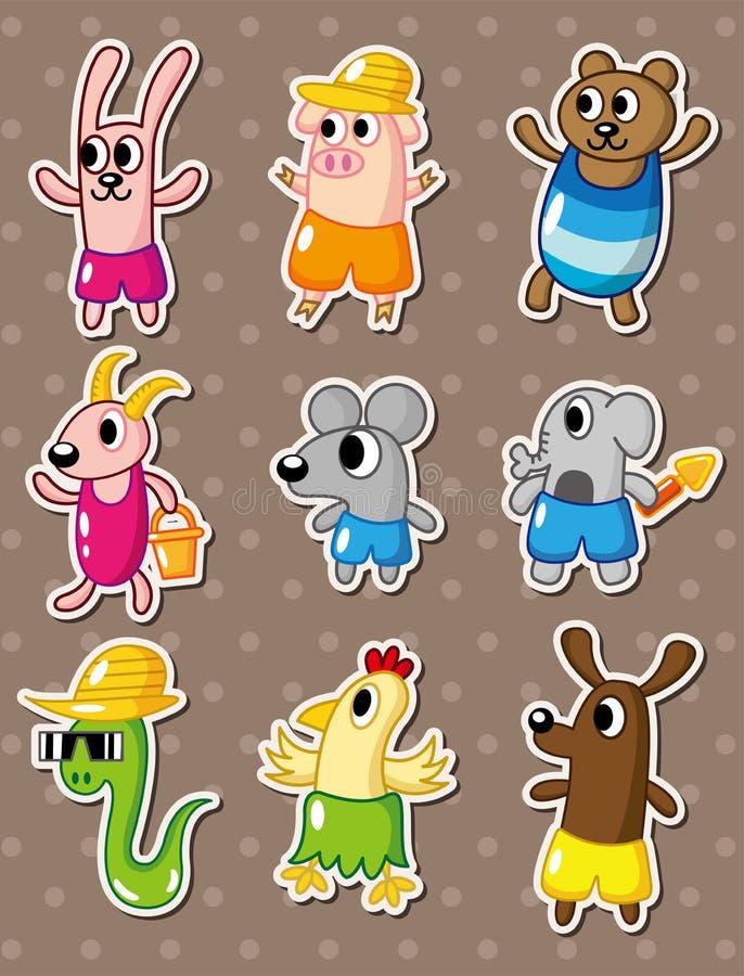 Summer animal stickers vector illustration