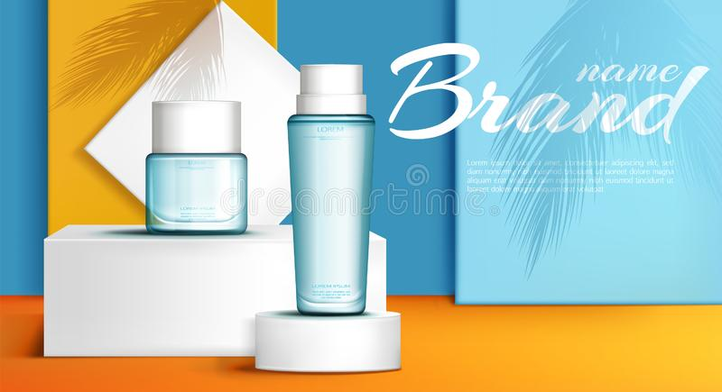 Summer line perfume ad banner realistic vector royalty free illustration