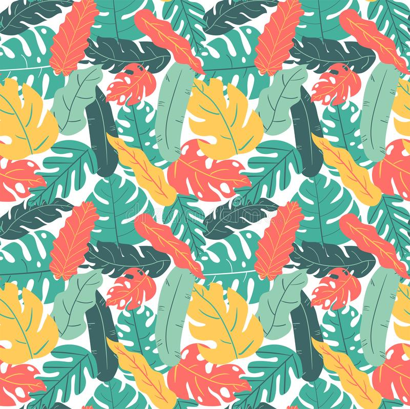Hand drawn summer and autumn color tropical leaf hand drawing pattern seamless stock photos