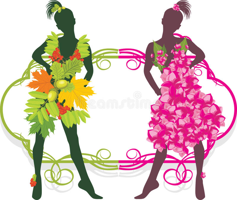 Summer and autumn girls. Fashion collection royalty free illustration