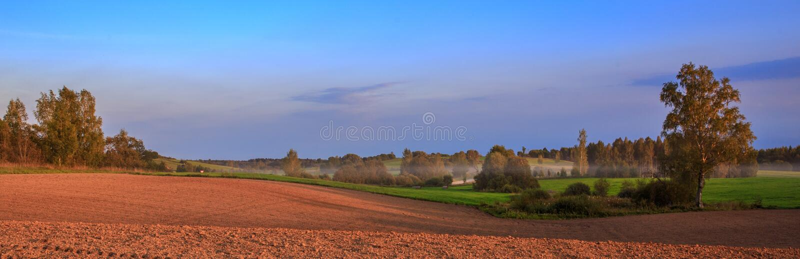 Summer autumn landscape plowed field. Panoramic view. Panorama. Latgale Latvia stock photo