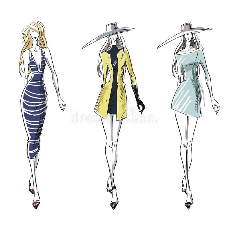Summer and autumn look, fashion illustration stock illustration