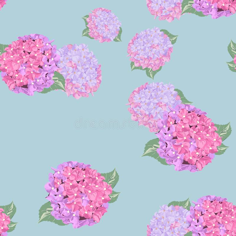 Floral seamless pattern with colorful lilies flower and hydrangea on light background. vector illustration