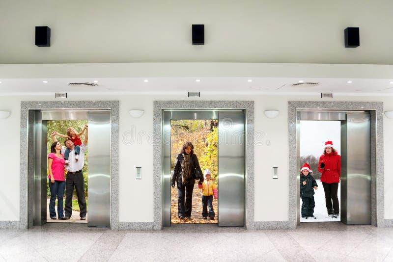 Summer autumn winter family in elevator doors. Summer autumn winter family in Three elevator doors in corridor of office building collage stock photos