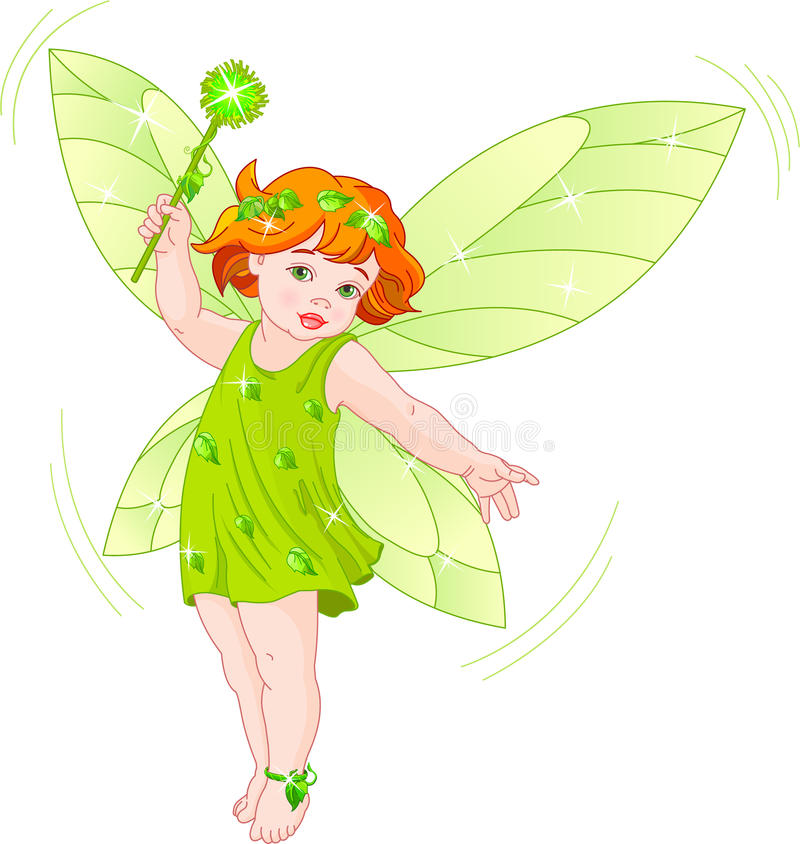 Summer baby fairy. Vector illustration of a summer baby fairy in flight royalty free illustration