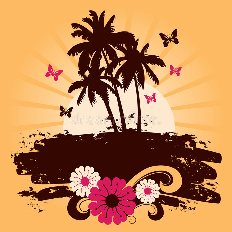 Summer backdround. With palms, vector illustration vector illustration