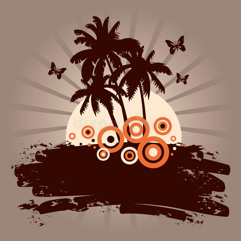 Summer backdround with palms. Vector stock illustration