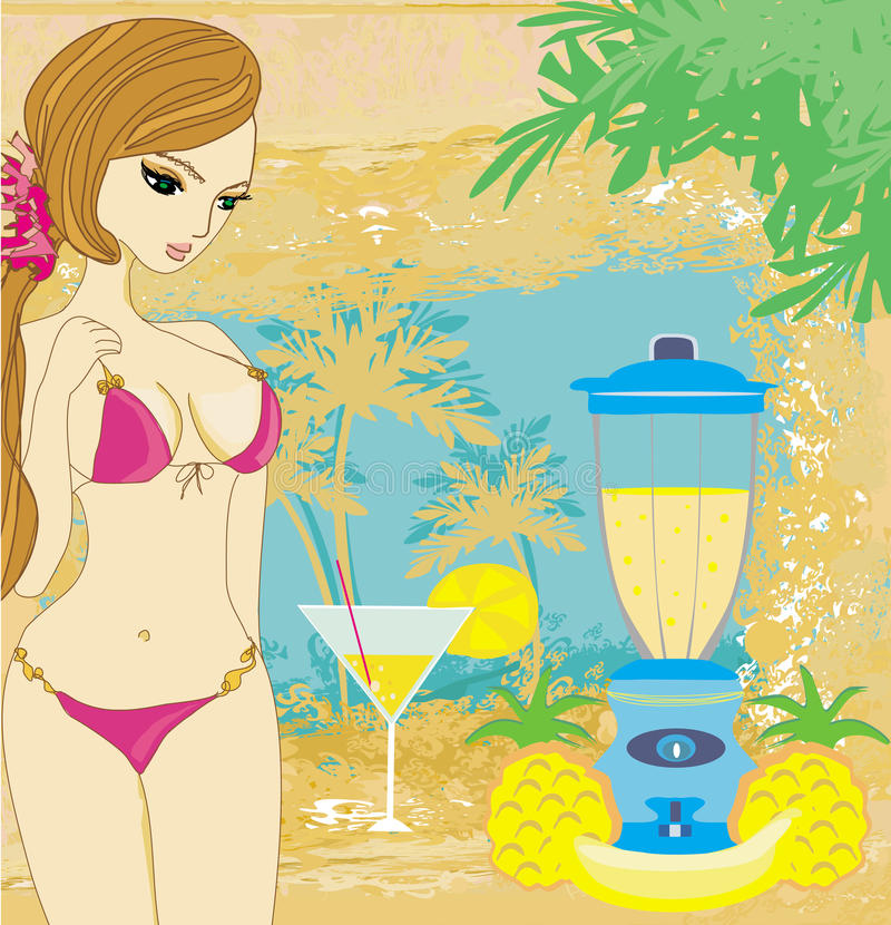 summer background with beautiful girl and fruity drink royalty free illustration